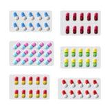 Vektorsatz verschiedene medizinische Pillen, wenn flache Art verpackt wird Stockfoto
