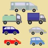 Vektorsatz verschiedene Stadtstadtverkehr-Fahrzeugikonen Lizenzfreies Stockfoto