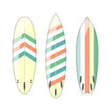 Vektorsatz verzierte bunte Surfbretter Stockfotografie