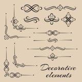 Vektorsatz von dekorativen Elementen und vonseitendekor Lizenzfreies Stockfoto