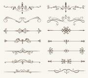 Vektorsatz von dekorativen Elementen, von Linie und von Seite ordnet Rahmen an Stockbilder