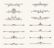 Vektorsatz von dekorativen Elementen, von Linie und von Seite ordnet Rahmen an Stockfotografie