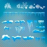 Vektorsatz von den Schneekappen, -eiszapfen, -schneeball und -schneewehe lokalisiert auf transparentem Hintergrund Höhlen Sie Sch Lizenzfreie Stockfotos