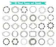 Vektorsatz von 30 Hand gezeichneten Rahmen und von Lorbeer Lizenzfreie Stockfotografie