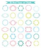 Vektorsatz von 30 Hand gezeichneten Rahmen und von Lorbeer Lizenzfreie Stockbilder