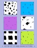 Vektorsatz von 6 handdrawn nahtlosen Mustern Stockbild