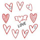 Vektorsatz von Handgezogenen schattierten Herzen whis Flügeln, Gips, Narbe und Flecken stock abbildung