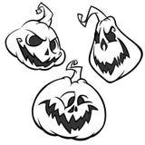 Vektorsatz von hinterem und von Weiß Halloween-Kürbise mit verschiedenen Ausdrücken erschreckend vektor abbildung