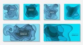 Vektorsatz von 6 Hintergründen mit tiefer blauer Farbpapier-Schnittform lizenzfreie abbildung