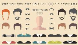 Vektorsatz von kleiden oben Erbauer mit unterschiedlichen Geschäftsmanngläsern, Bart usw. In der flachen Art Mann stellt Ikonensc lizenzfreie abbildung