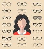 Vektorsatz von kleiden oben Erbauer mit verschiedenen Gläsern in der modischen flachen Art Frau im Sonnenbrillegesichts-Ikonensch stock abbildung