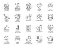 Vektorsatz von 20 linearen Ikonen Stadtinfrastruktur Piktogramm in der linearen Art für Projekte der Werbung und der Immobilien Stockbild