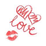 Vektorsatz von Lippenstift gezeichneten Herzen und von Kuss Stockbild