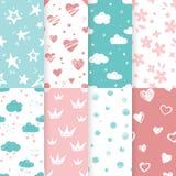 Vektorsatz von 4 nahtlosen Mustern des Hintergrundes in den hellblauen und rosa Farben stockbild