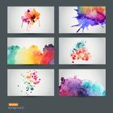 Vektorsatz von sechs gezeichnetem Hintergrund des Aquarells abstrakte Hand, vect Lizenzfreie Stockfotos