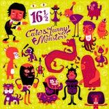 Vektorsatz von sechzehn und halben netten und lustigen Monster Stockbilder