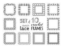 Vektorsatz von 10 Skizzenspitzehäkelarbeit-Quadratrahmen Stockfotos