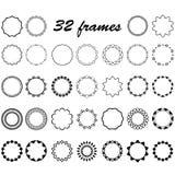 Vektorsatz von um und kreisförmige leere Rahmen für Dekoration Stockbild