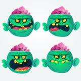 Vektorsatz von vier Karikaturbildern von lustigen grünen Zombiegroßköpfen mit verschiedenen Aktionen Stockfotografie