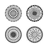 Vektorsatz von vier Mandalen Ethnische dekorative runde Verzierung C Stockbilder