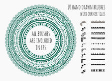 Vektorsatz von zehn Hand gezeichneten Bürsten Lizenzfreie Stockbilder