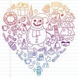 Vektorsatz Weihnachten, Feiertagswintertage 2019, 2020, Vektorillustration Das Muster des neuen Jahres, die Zeichnungen der Kinde stock abbildung