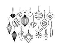 Vektorsatz Weihnachtsbaumspielwaren, die an den Bändern hängen lizenzfreies stockbild