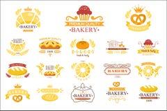 Vektorsatz Weinleseb?ckereiaufkleber Embleme mit frischem Brot, Torten, Brezel, Br?tchen, Laibe, kleine Kuchen, H?rnchen stock abbildung