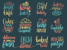 Vektorsatz Weinlesebäckereihandbeschriftungsaufkleber Typografiedesign, Kalligraphiesammlung mit Plätzchen Illustrationen Stockfoto