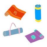 Vektorsatz Yogamatten stock abbildung