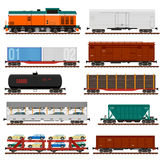 Vektorsatz Zug-Fracht-Lastwagen, Behälter, Autos lizenzfreie stockbilder