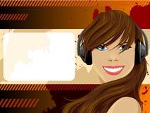 Vektorschönheitsmädchen mit Kopfhörern Lizenzfreie Stockfotos