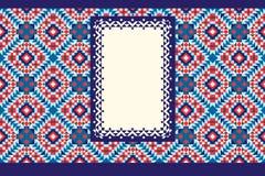 Vektorschablone des Grafikdesigns Fahne auf einem hellen nahtlosen Hintergrund, mit einer openwork Grenze Stockfotos