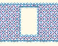 Vektorschablone des Grafikdesigns Fahne auf einem hellen nahtlosen Hintergrund, mit einer openwork Grenze Lizenzfreie Stockfotografie