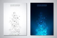Vektorschablone für Abdeckung oder Broschüre, mit Molekülhintergrund und DNA-Strang Medizinisch oder wissenschaftlich und technol vektor abbildung
