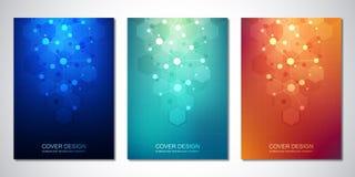 Vektorschablone für Abdeckung oder Broschüre, mit Molekülhintergrund und neuralem Netz Abstrakter geometrischer Hintergrund von lizenzfreie abbildung