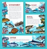 Vektorschablone für Meeresfrüchtemarkt der frischen Fische stock abbildung