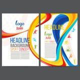 Vektorschablonen-Designstreifen von farbigen Ringen und von Wellen sammelten von den verschiedenen Farben Lizenzfreie Stockbilder