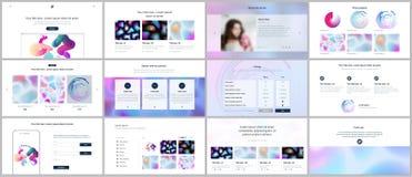 Vektorschablonen für Website entwerfen, minimale Darstellungen, Portfolio mit geometrischen Mustern, Steigung, flüssige Formen UI Lizenzfreie Stockbilder