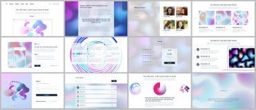 Vektorschablonen für Website entwerfen, minimale Darstellungen, Portfolio mit geometrischen Mustern, Steigung, flüssige Formen UI Stockfotos