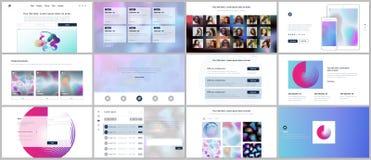 Vektorschablonen für Website entwerfen, minimale Darstellungen, Portfolio mit geometrischen Mustern, Steigung, flüssige Formen UI Lizenzfreies Stockfoto
