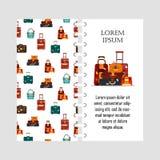 Vektorschablonen-Reisetaschen lokalisiert auf weißem Hintergrund Abdeckung für Druck mit Geschäftsreiseverpackung, Griffreise Stockbilder