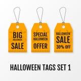 Vektorschablonen Verkaufs Halloweens große eingestellte Tags Stockfoto