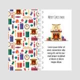 Vektorschablonen-Weihnachtskarte mit festlichen Elementen Geschenke, Uhr, Kerze, Kamin, Socken, Holz, Süßigkeit bunt Lizenzfreie Stockfotografie
