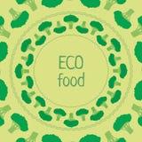 Vektorschablonenbrokkoligrünkreis eco Lebensmittel Lizenzfreies Stockfoto