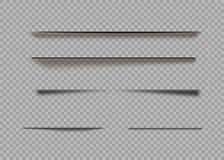 Vektorschatten lokalisiert Seitenteiler mit den transparenten Schatten lokalisiert Satz Schatteneffekte stock abbildung