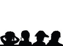 Vektorschattenbild der Mädchenfrisuren vier Lizenzfreie Stockfotografie