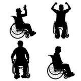 Vektorschattenbild des Mannes auf Rollstuhl Stockfoto