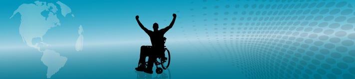 Vektorschattenbild des Mannes im Rollstuhl Lizenzfreie Stockfotos
