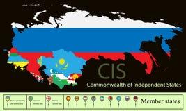 Vektorschattenbild-Kartenzustände CIS Commonwealth von unabhängigen Staaten mit der ukrainischen Krim Gesetzte kreative Markierun lizenzfreie abbildung